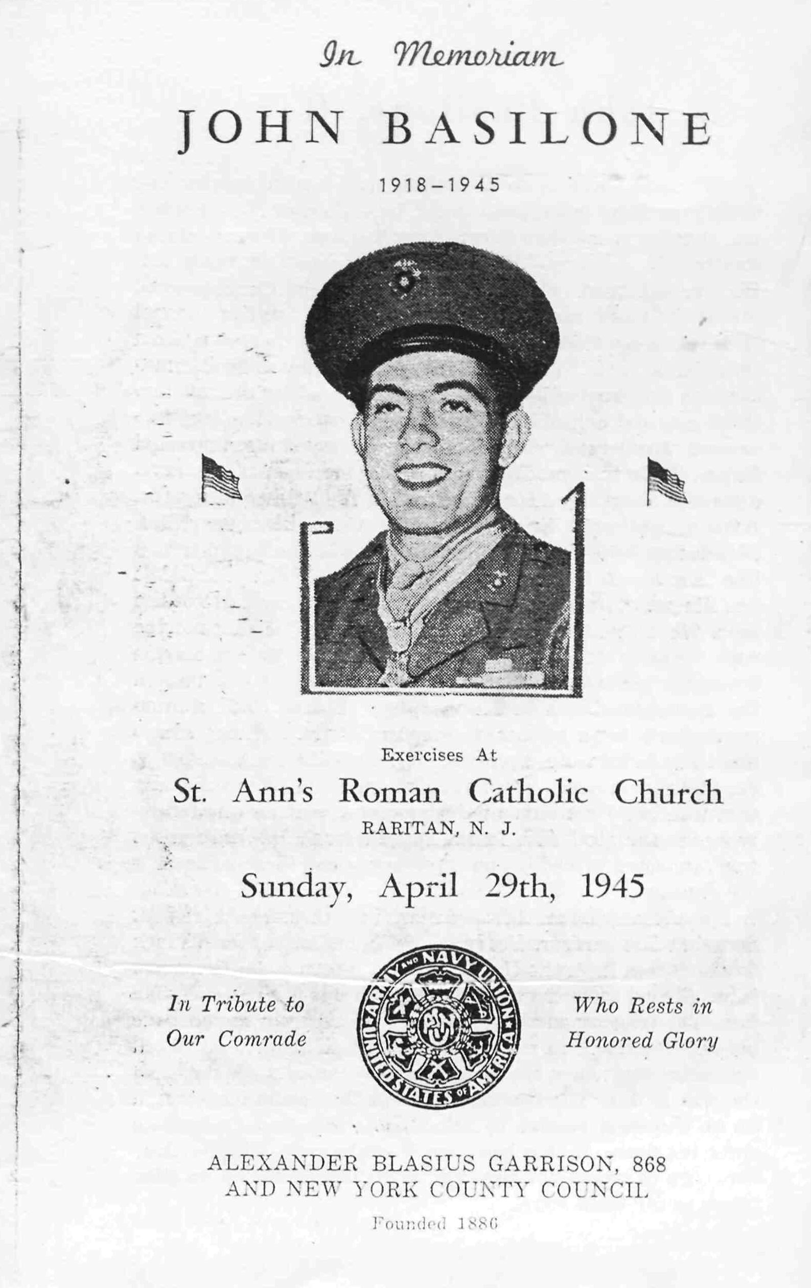 Program from 1945 Memorial Mass for John Basilone