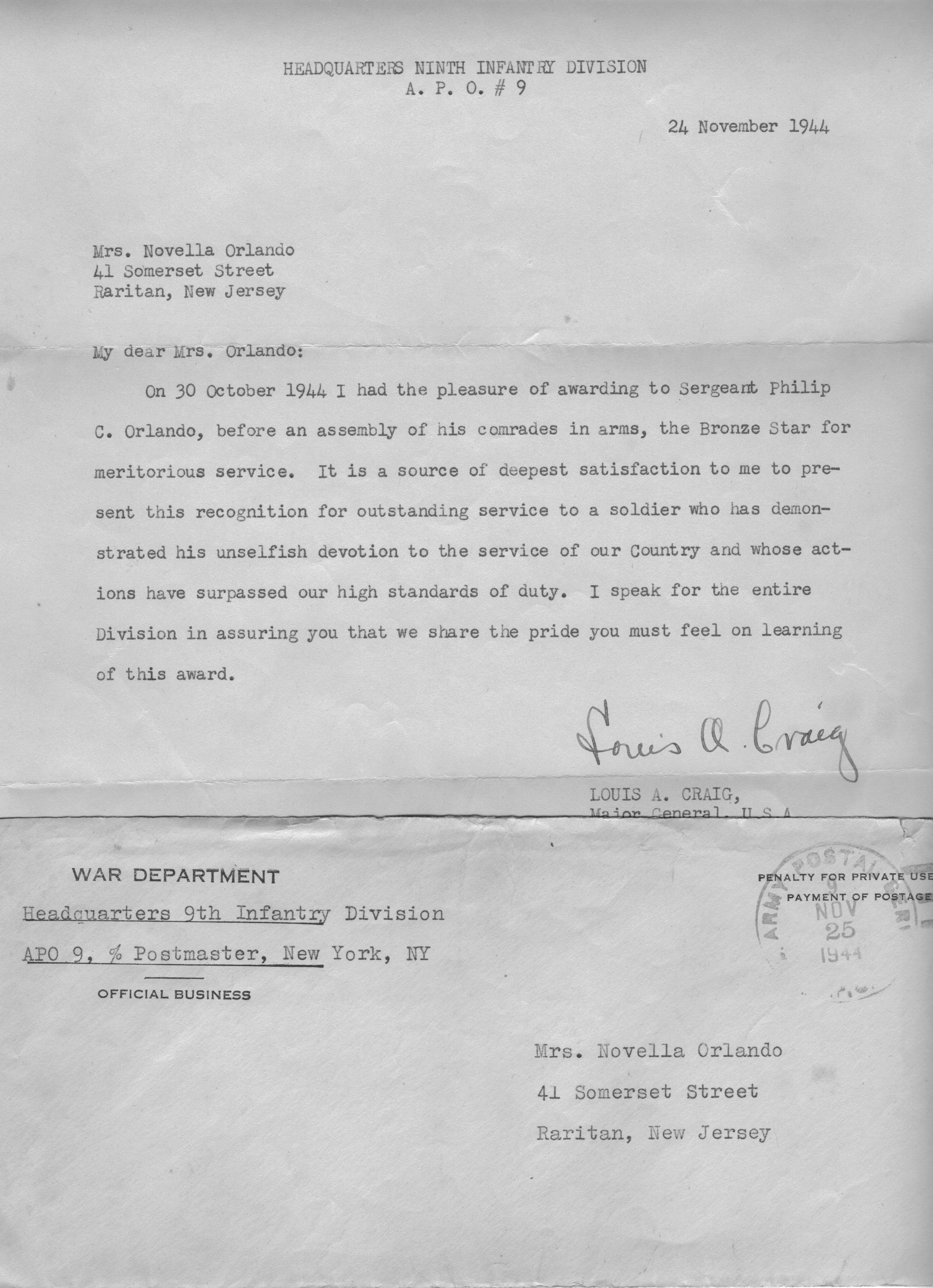 philip orlando letter from commanding officer
